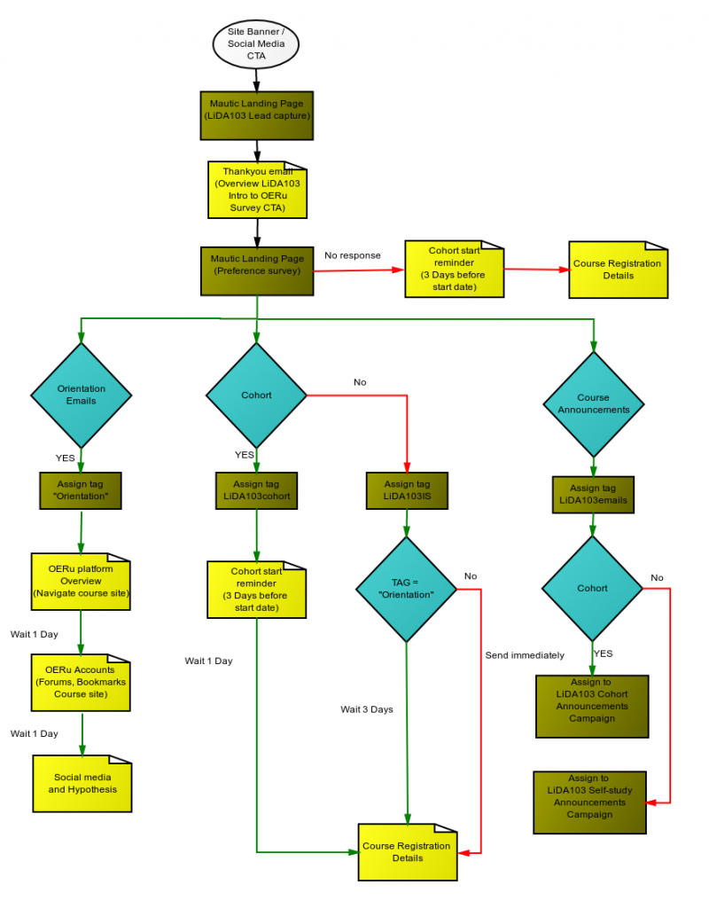 Flow chart depicting logic of Mautic campaign for LiDA103