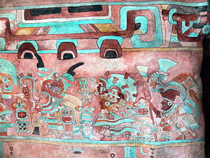 Zapotec Mural painting in Monte Alban.